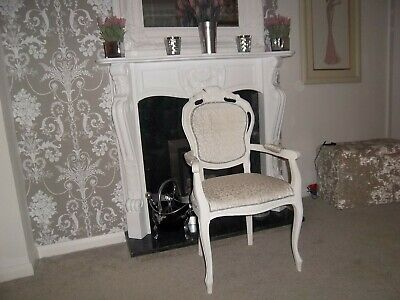 French Louis Carver Chair White & Silver • 69.99£