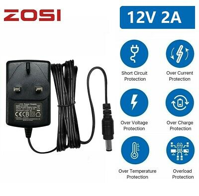 ZOSI 12V 2A AC DC Power Supply UK Plug For Led Strip CCTV Camera Safety Charger • 5.59£