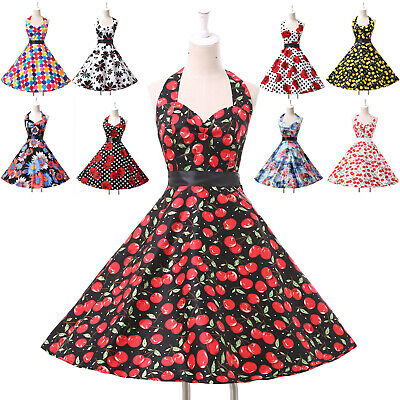 1950s Vintage Housewife Swing Pin Up Evening Party Cocktail Housewife TEA Dress • 20.62£
