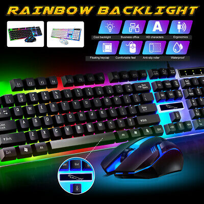 AU18.53 • Buy Gaming Keyboard And  Mouse Set Rainbow RGB LED Backlit Wired USB For PC