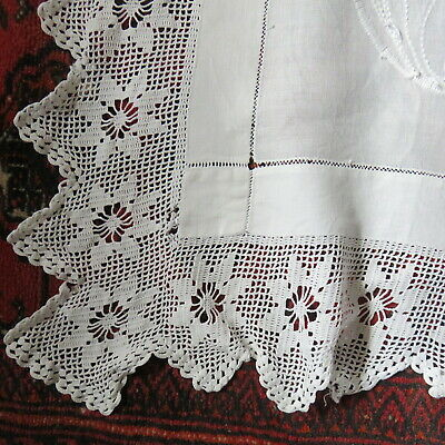 Vintage Hand Made ? Lace Edged Tablecloth Embroidery Butterfly Flowers - Damaged • 5.99£