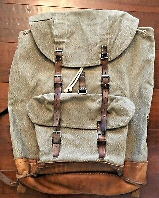 Vintage Swiss Army Military Leather Salt & Pepper Rucksack Backpack 60s 1964 • 170.20£