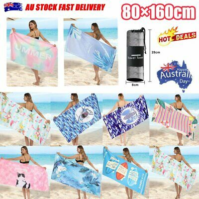 AU20.96 • Buy 80x160cm Ex Large Microfibre Sand-free Beach Towel Quick Dry Travel BPCh TowelXA