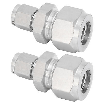 AU15.28 • Buy 2pc Compression Tube Fitting Adapter Steel Double Ferrule Joint Connector Ф6-Ф14