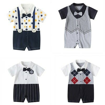 £6.99 • Buy Newborn Infant Baby Boys Gentleman Romper With Bow Tie Stripe Jumpsuit Outfits
