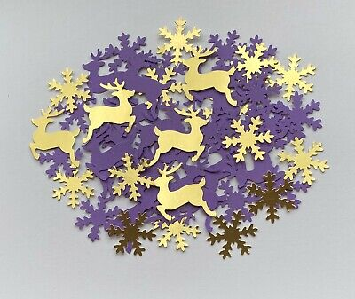 Christmas Snowflakes & Reindeer Table Decorations. Purple & Gold Confetti.C21 • 2.99£