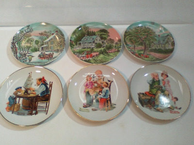 $ CDN22.78 • Buy Lot Of 6 Decorative Plates - Norman Rockwell And Currier & Ives