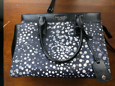 $ CDN82.93 • Buy Kate Spade Cameron Medium Satchel Crossbody Purse  Blue, Black And White Dots
