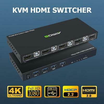 AU109.74 • Buy USB HDMI KVM Switch Box 4 Ports Selector Switcher For 4PC Sharing Video Monitor