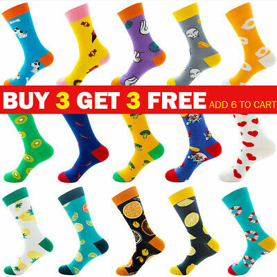 £3.99 • Buy Mens Fashion Combed Cotton Socks Funny Animal Fruit Casual Breathable Sock UK