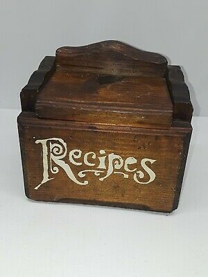 Vintage Wooden Recipe Box Card Holder Handpainted And Decorative Kitchen  • 9.57£