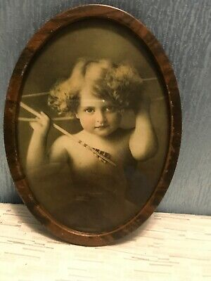 """$19.95 • Buy Antique Cupid Awake  Oval Tin  Framed Picture M B PARKINSON 1897 7.5"""""""