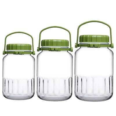 Pasabahce Clear Glass Food Jar Preserve Airtight Container Storage Lid 3L 4L 5L • 10.99£