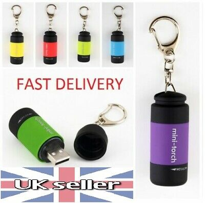 LED Torch Lamp Pocket USB Rechargeable Mini Keychain Keyring Camping Flashlight • 3.29£