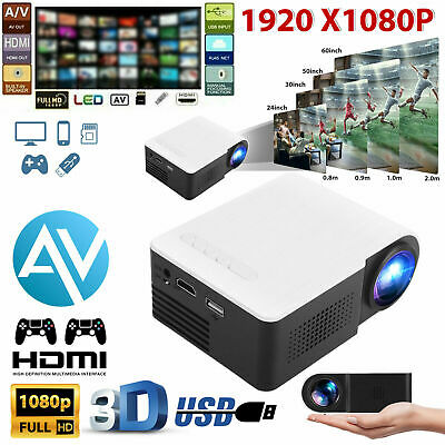 1080p Full HD LED Portable Projector Home Theater Cinema For IPad/iPhone/Android • 64.39£