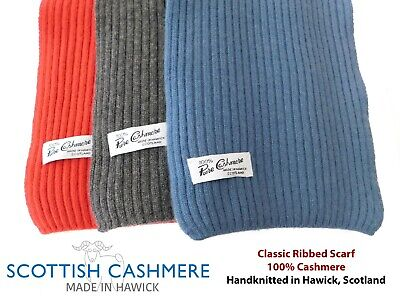 £30.95 • Buy Pure Cashmere Hand Knitted Ribbed Scarf - Made In Scotland