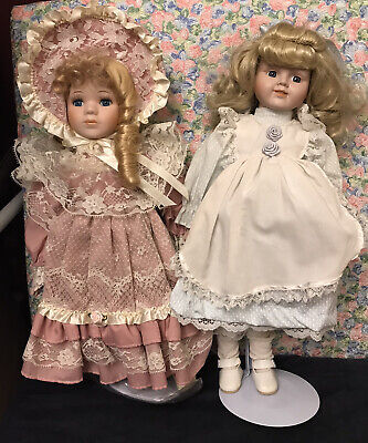 "$ CDN20.56 • Buy Lot Of 2 Vintage 16"" Blonde Porcelain Dolls! Excellent Condition!"