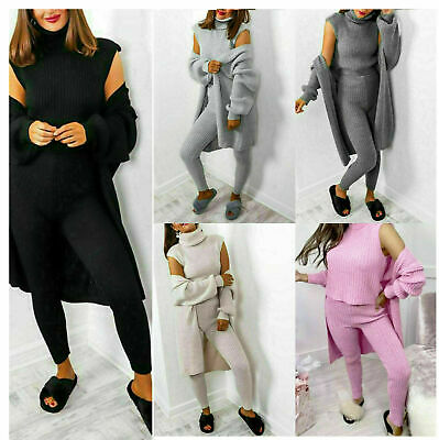 Women's 3 Piece Roll Neck Chunky Knitted Tracksuit Ladies Ribbed Lounge Wear Set • 19.89£