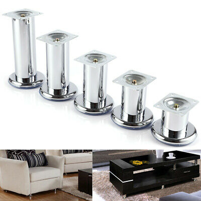 4 Metal Chrome Leg For Furniture Sofa Bed Cabinet Footstool Side Height 60-150mm • 11.49£