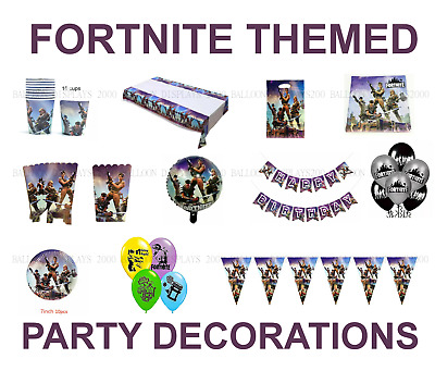 Fortnite Themed - Party Supplies -Tableware - Decorations - Banners - Balloons • 3.49£