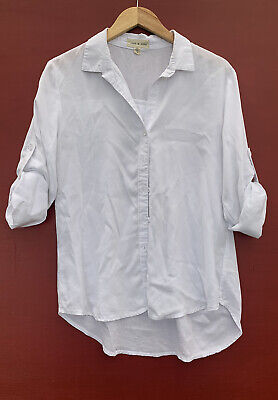 $ CDN34.06 • Buy Anthropologie Top Small Cloth And Stone White Button Down Roll Tab Sleeve Shirt