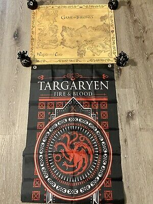 £13.27 • Buy Game Of Thrones 16x20 Westeros And Essos Detailed Map & TARGARYEN Fire & Blood