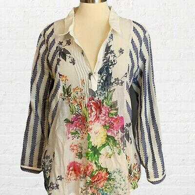 $ CDN31.69 • Buy Anthropologie Cyrena Blouse Floral Stripe Size Large Button Pullover