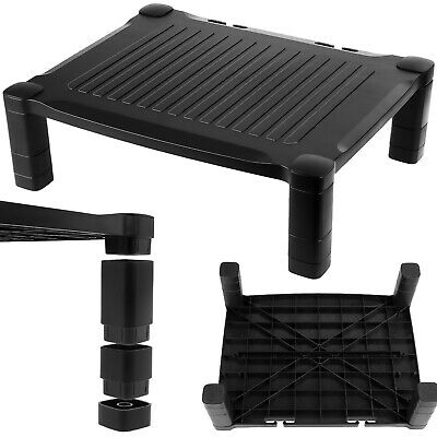 PC Screen Monitor Riser Stand Computer Desk Black Height Adjustable Single Up • 14.95£