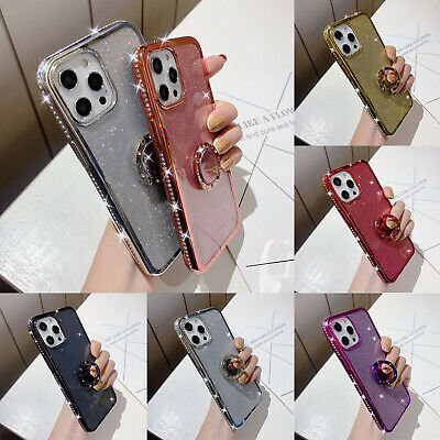 AU8.89 • Buy For IPhone 12 Pro Max 11 8 Plus 7 6s XR XS Bling Glitter  Ring Stand Case Cover
