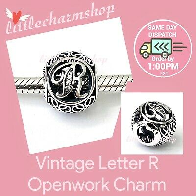 AU44.10 • Buy New Authentic Genuine PANDORA Vintage Letter R Openwork Charm - 791862CZ RETIRED