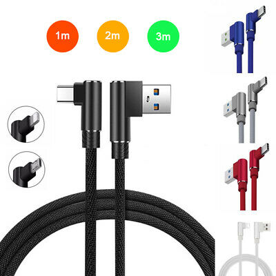 90 Degree Fast Charge Type C / Micro USB Charger Cable For IPhone Samsung Huawei • 3.89£