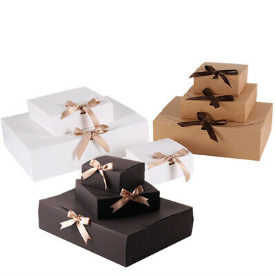 5pcs Square Kraft Paper Box Cardboard Package Candy Storage DIY Gift Wrapping • 7.25£