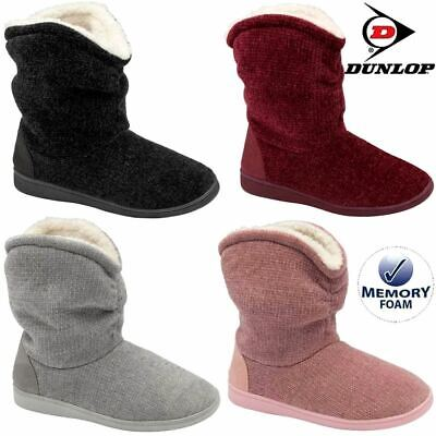 £16.95 • Buy Ladies Slippers Women Dunlop Memory Foam Fur Thermal Ankle Boots Warm Shoes Size
