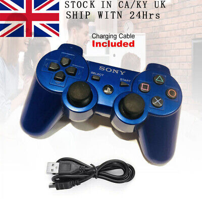 PS3 Controller PlayStation DualShock 3 Wireless SixAxis GamePad Blue UK • 15.39£
