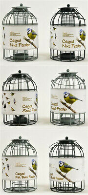 Green Caged Bird Feeders - Squirrel Proof Seed Nut Fat Ball - Mother's Day Gift • 9.99£