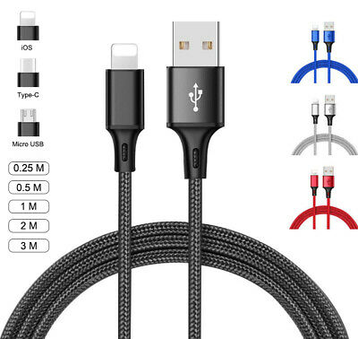 USB Cable For IPhone Android Type C Micro USB Fast Charger Charging Lead 2m 3m • 2.49£