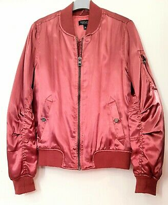 BRAND NEW TOPSHOP Ladies Size 10 Silky Bomber Jacket Peach/pink  • 8£
