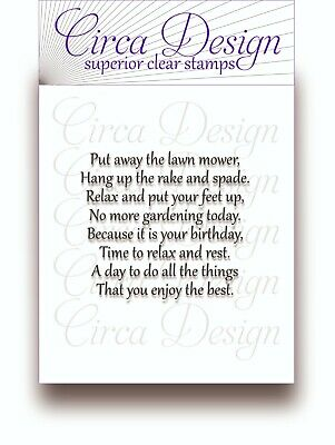 Clear Unmounted Birthday Verse For Male/Men Sentiment Rubber Stamp BDVS38 • 5.25£