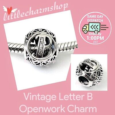 AU44.10 • Buy New Authentic Genuine PANDORA Vintage Letter B Openwork Charm - 791846CZ RETIRED