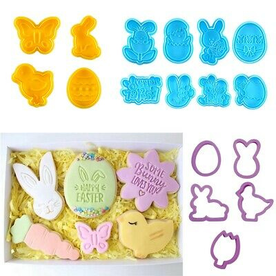 £3.83 • Buy 4X Easter Egg Rabbit Cake Fondant Plunger Cutter Cookie Biscuit Pastry Mold Tool