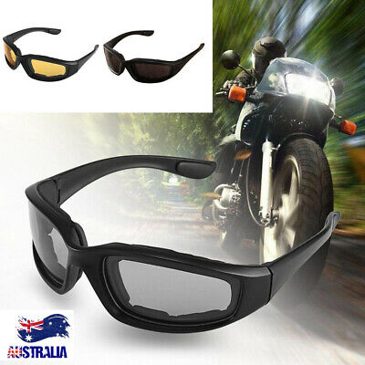 AU9.39 • Buy Night Driving Riding Padded Motorcycle Glasses Black Clear Yellow Lens