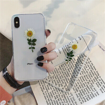 Real Dried Flower Clear Phone Case Cover For IPhone 11 Pro XS Max XR 6 7 8 Plus • 4.65£