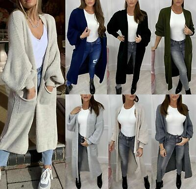 £18.90 • Buy Women's Ladies Chunky Knitted Oversized Balloon Sleeve Long Jumper Maxi Cardigan