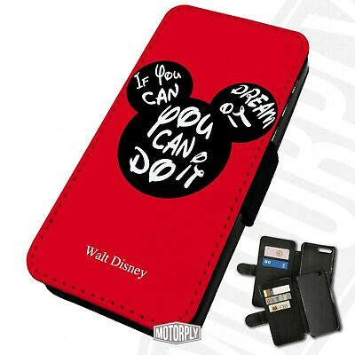Printed Faux Leather Flip Phone Case IPhone - Mickey-You-Can-Do-It-Silhouette • 9.75£
