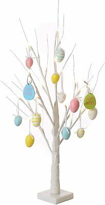 Easter Tree With Lights - White 70cm Table Top Twig Tree - Pre-Lit With 24 LEDS  • 21.99£