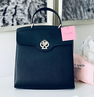 $ CDN338.11 • Buy NWT Kate Spade Nicola Romy Twistlock Top Handle Backpack BLACK Leather Boutique