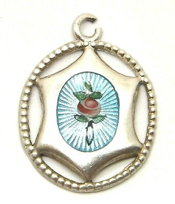 CHARLES HORNER Silver And Enamel Pendant Small Rose Vintage Jewellery C1850 • 84£