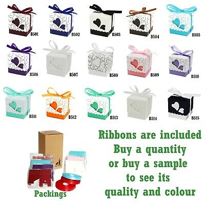 £9.44 • Buy Classic Wedding Favour / Gift Boxes With Colour Love Heart Decoration