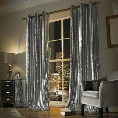 Ashley Wilde 'Iliana' Lined Eyelet Curtains - Silver (66 X90 ) Pls Read Notes • 72£