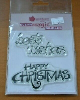 Happy Christmas / Best Wishes Clear Rubber Stamps • 1£